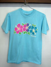 vtg Hawaii T-Shirt Retro Puffy Print Hibiscus Oneita cotton sz M made in USA EUC