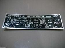 Honda CB125 CB125K Mark Tire Caution Chain Case Decal Sticker Important Label