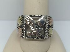 STERLING SILVER BLACK HILLS GOLD MEN'S EAGLE BAND RING SIZE 10.5
