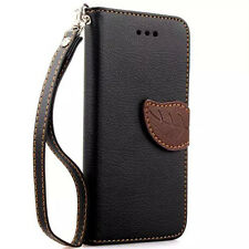 Leaf Clasp Leather Case with Stand 2 Card Holder Wallet Case Cover For iPhone