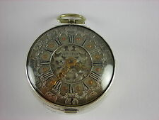Antique original English Verge Fusee Keywind pocket watch. Rare Champleve dial!