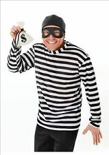 Burglar Robber Black White Stripe Halloween Fancy Dress Costume Outfit  P7199