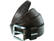 NEW RRP £50 Police POMAA8-0402DL P Keeper Brown Leather Silver Buckle Belt - L