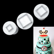 3pcs Square Cake Decorating Baking Mold Gum Paste Plunger Cookie Cutter Set New