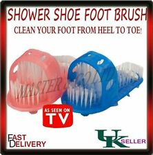 Shower Feet Foot Cleaner Scrubber Washer Bath Brush with Built-In Pumice (BLUE)