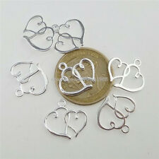 12792 50PCS Silver Color Alloy Sweet Love Heart Pendant Charm Jewelry Making