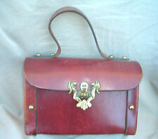 Vintage ETIENNE AIGNER Leather Box Purse early 1970's.  Oxblood color, EUC.