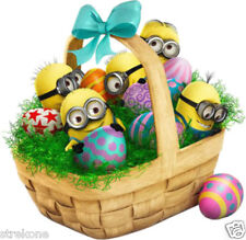 MINIONS of DESPICABLE ME in Easter Egg Basket - Windocling Art Stick-On Decal