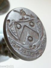 GEORGIAN INTAGLIO SEAL FOB HERALDIC CREST HAND SPEAR MOTTO MY RIGHT HAND