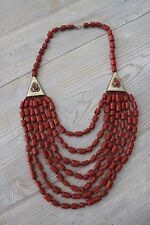 Vintage Red Branch Coral GLASS Western Style Necklace