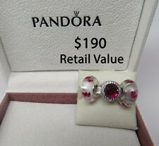 New w/Hinged Box Gift Set of 3 Pandora Charms Radiant & 2 Wild Hearts Murano