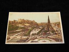 Vintage Postcard, EDINBURGH, SCOTLAND, UK, Aerial View The Castle & Nat. Gallery