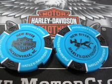Harley Lt. Blue & Black  Poker Chip New River Harley Davidson Jacksonville, NC