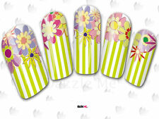 Nail Art Sticker Water Decals Transfer Flowers Floral Stripes (DC176)