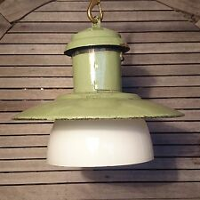 Industrial GREEN ENAMEL SHADE Pendant Light Shabby Chic Lamps