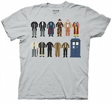 Doctor Who All Eleven Doctor Outfits Silver Adult T-Shirt Size XXL, NEW UNWORN