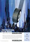 """1961 Seiberling Tire """"Sealed-Aire"""" White Wall Tire PRINT AD"""