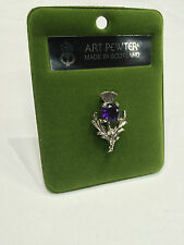 Art Pewter Ladies Scottish Thistle Amethyst Stone Brooch Made in Scotland New