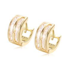Double Row Crystal Hoop Huggie Earrings 18K GP Yellow Gold Filled  Earrings