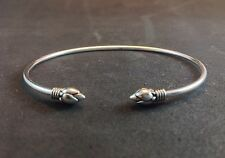 Womens Artisan Tribal Lotus Sterling Silver 925 Bangle Cuff Adj Jewelry Bracelet