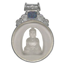 Offerings Sajen 925 Sterling Silver Hand-Carved Crystal Buddha & Druzy Pendant