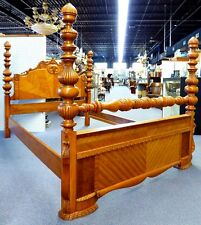 Waterfall Design 4 Poster Antique Full/Double Bed. Carving, inlays. US Made.1940