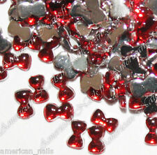 100 Bijoux d'Ongles Strass Nail Art PETITS NOEUDS Rouge