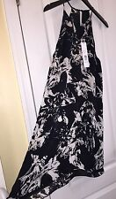 NWT PARKER Quintana Black Floral Summer Cocktail Sleeveless Sexy Silk Dress M