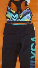 NEW Victoria's Secret VSX sexy Multi Color sport Bra + Tight pants SET Yoga Blue