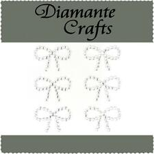 6 x 29mm Clear Diamante Bows Self Adhesive Craft Rhinestone Embellishment Gems