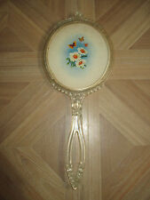 """Vintage HAND MIRROR Lucite Ornate Frame Floral Daisy Butterfly Design 13""""x5 1/2"""""""