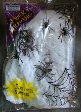Halloween Large Spiders Web & 8 spiders Spooky Party Scene Prop Decoration