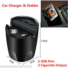 3USB Port+2 Cigarette Expansion Output Car Charger Mobile Phone Cup Mount Holder