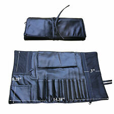 Beautydec Travel Black Faux Leather Makeup Brush Case Bag Holder Roll Pouch Tool