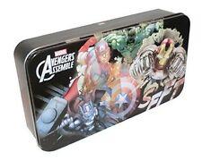 Marvel Avengers Assemble Hinged Storage Tin Box Pencil Case NWT
