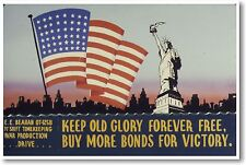 Keep Old Glory Forever Free - NEW Vintage Reprint POSTER