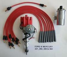 FORD 221-260-289-302  RED Small Female HEI Distributor,40K coil,Spark Plug Wires