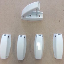 5 RV Camper WHITE Rounded Baggage Door Catches  Compartment Latch Holders