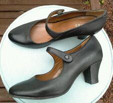 Hobbs Vintage 20s Negro Cuero Mary Janes Tacones Zapatos Talla 5/38