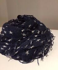 Chan Luu Cashmere and Silk Scarf in Total Eclipse Navy/White Star Print - BNWT