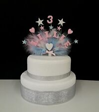 Heart and star with feathers any name and age birthday/christening  cake topper