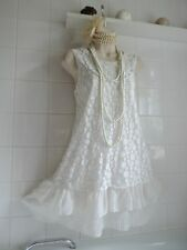 Vintage 1920s White Lace Crochet Tier Bead Pearl Flapper Babydoll Tunic Dress L