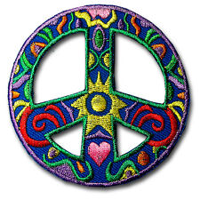 Peace Sign Dan Morison Patch Embroidered Applique Iron on Hippie Retro Sew Badge