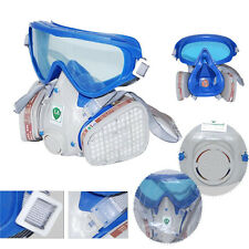 Respirator Gas Mask Safety Chemical Anti-Dust Filter facepiece Eye Goggle Set