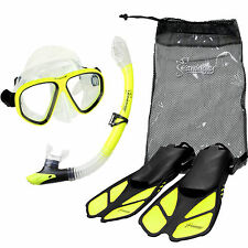 Seavenger Diving Set (Yellow) L/XL Adult Size Dry Snorkel Trek Fin Mask Gear Bag