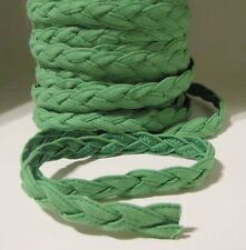 VINTAGE 1960s EMERALD GREEN LINEN Braided Fabric Trim Cord Ribbon NEW OLD STOCK