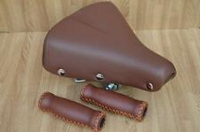 New Touring Bicycle Saddle Vintage Miyata Cruiser Bike Seat Brown with Grips