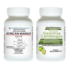 100% PURE AFRICAN MANGO EXTRACT Weight Loss + GARCINIA CAMBOGIA PURE HCA DIET