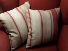 Laura Ashley Awning Stripe Raspberry/Lichen Fabric Cushion Cover Reversible