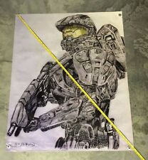 Halo video game poster armor figure model banner movie gun weapon helmet metal 6
